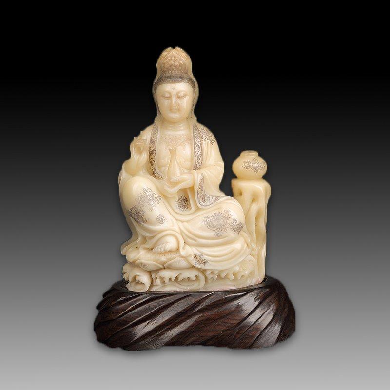 Chinese Shoushan Stone Statue - Guanyin