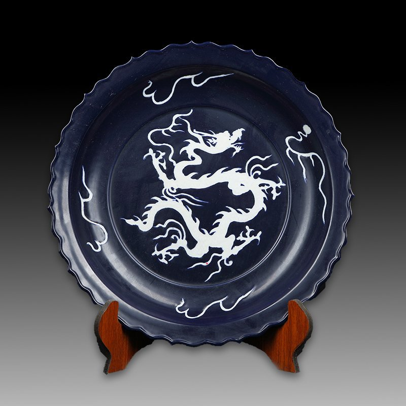 Large Chinese Ming Mirror Blue White Dragon Porcelain