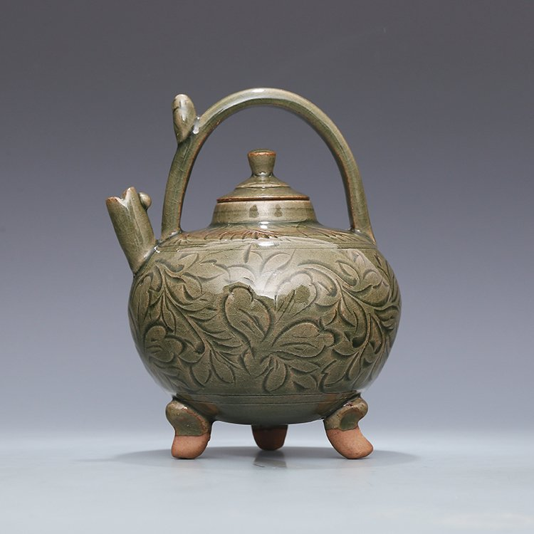 Chinese Yaozhou kiln Sculpture Porcelain  Teapot