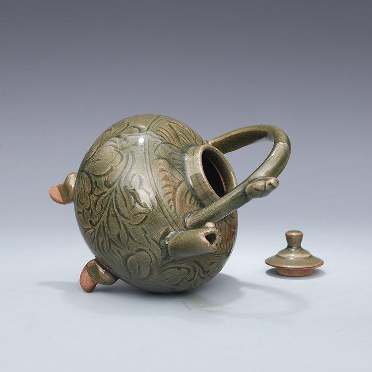 Chinese Yaozhou kiln Sculpture Porcelain  Teapot - 4
