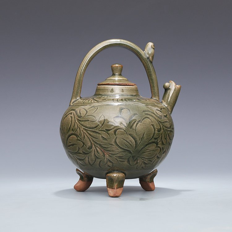Chinese Yaozhou kiln Sculpture Porcelain  Teapot - 7