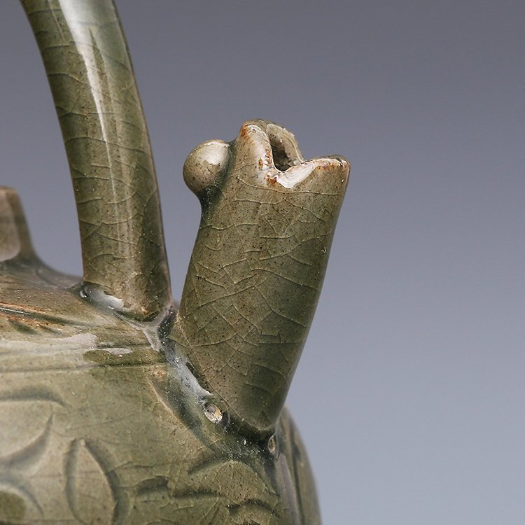 Chinese Yaozhou kiln Sculpture Porcelain  Teapot - 8