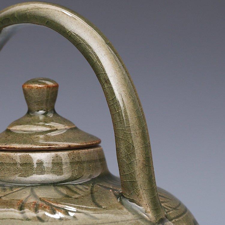 Chinese Yaozhou kiln Sculpture Porcelain  Teapot - 9