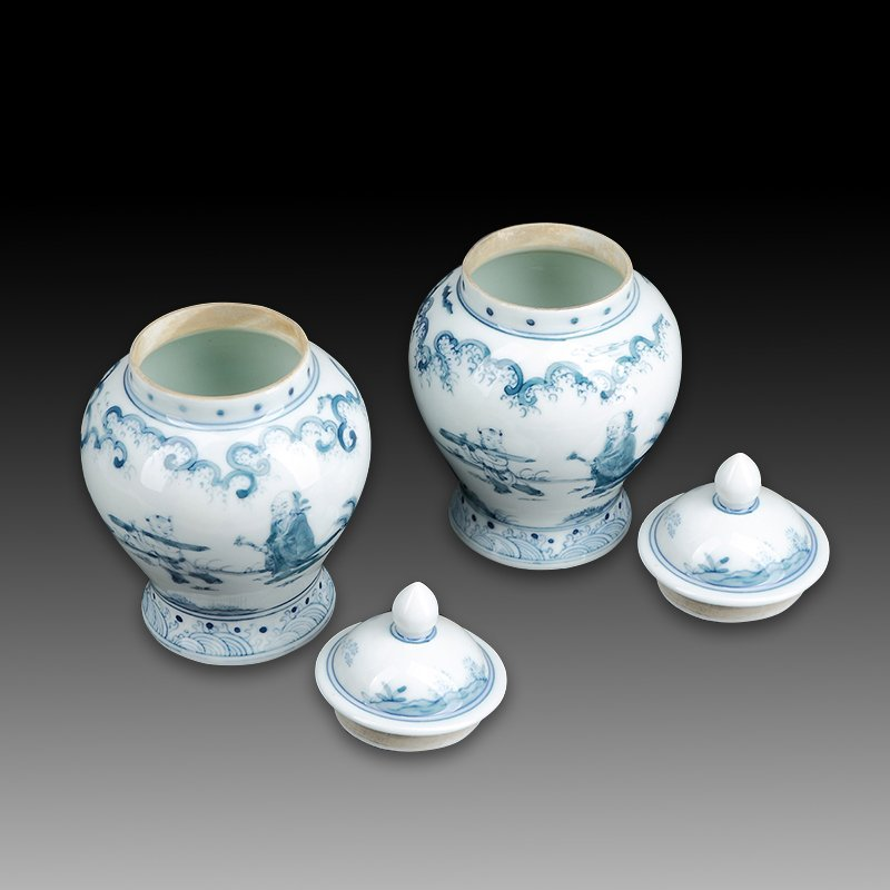 Pair of Chinese blue and white porcelain jars - 2