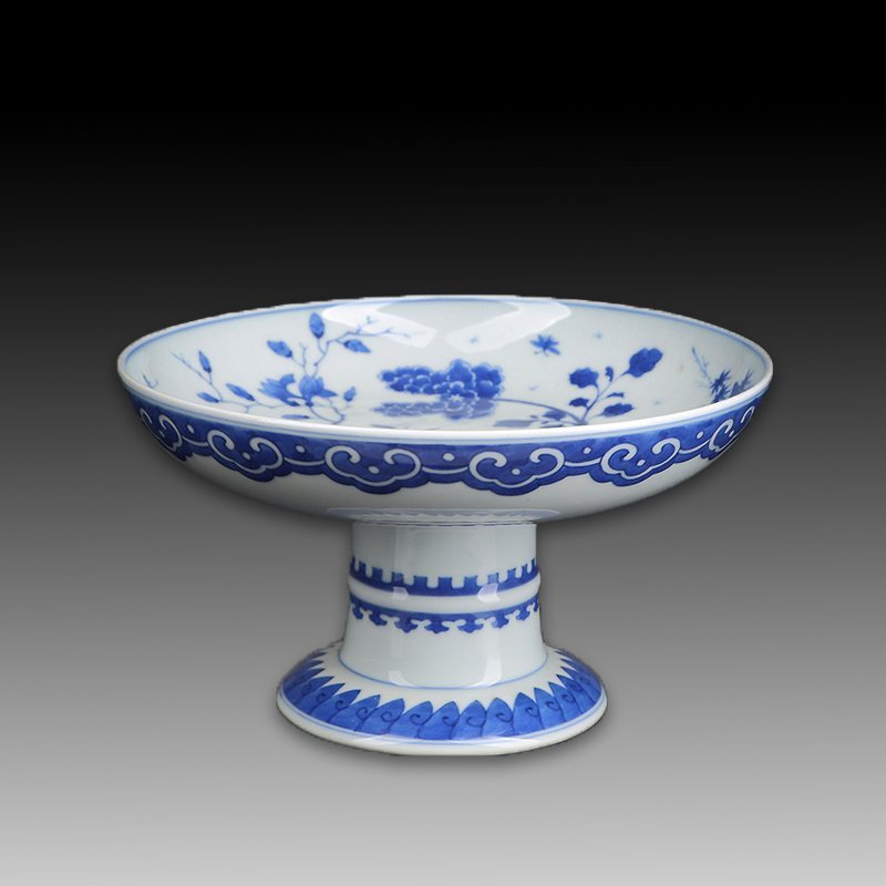 Chinese Blue And White Porcelain Footed Plate