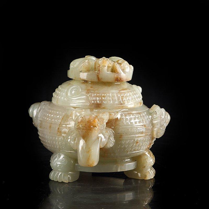 Vintage Chinese Hetian Jade Heads Incense Burner