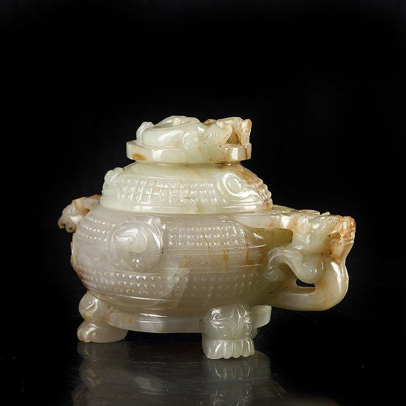 Vintage Chinese Hetian Jade Heads Incense Burner - 2