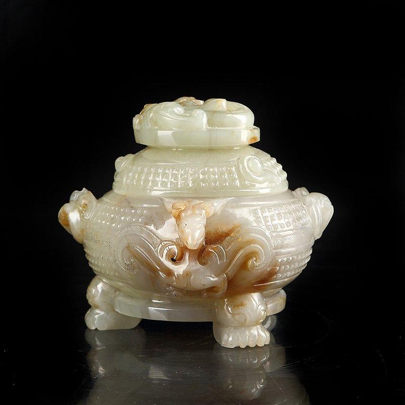 Vintage Chinese Hetian Jade Heads Incense Burner - 4