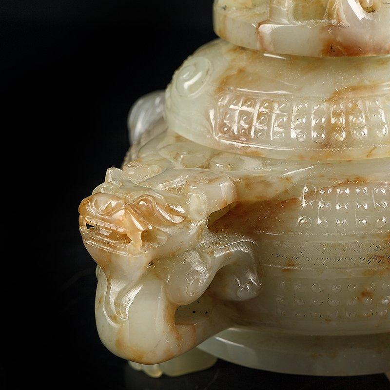 Vintage Chinese Hetian Jade Heads Incense Burner - 5