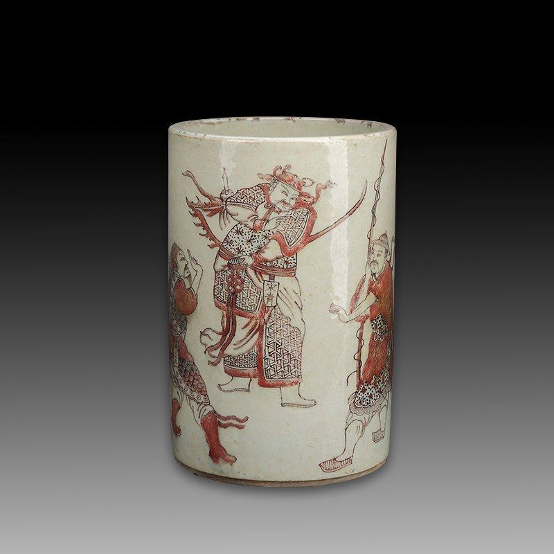 Chinese white glaze  underglaze red Porcelain Brush pot