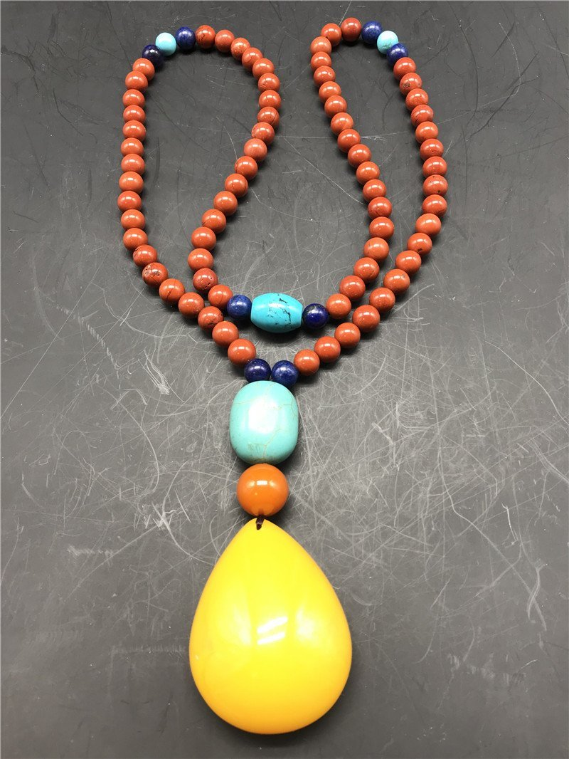 Chinese South red agate and Amber Necklace - 3
