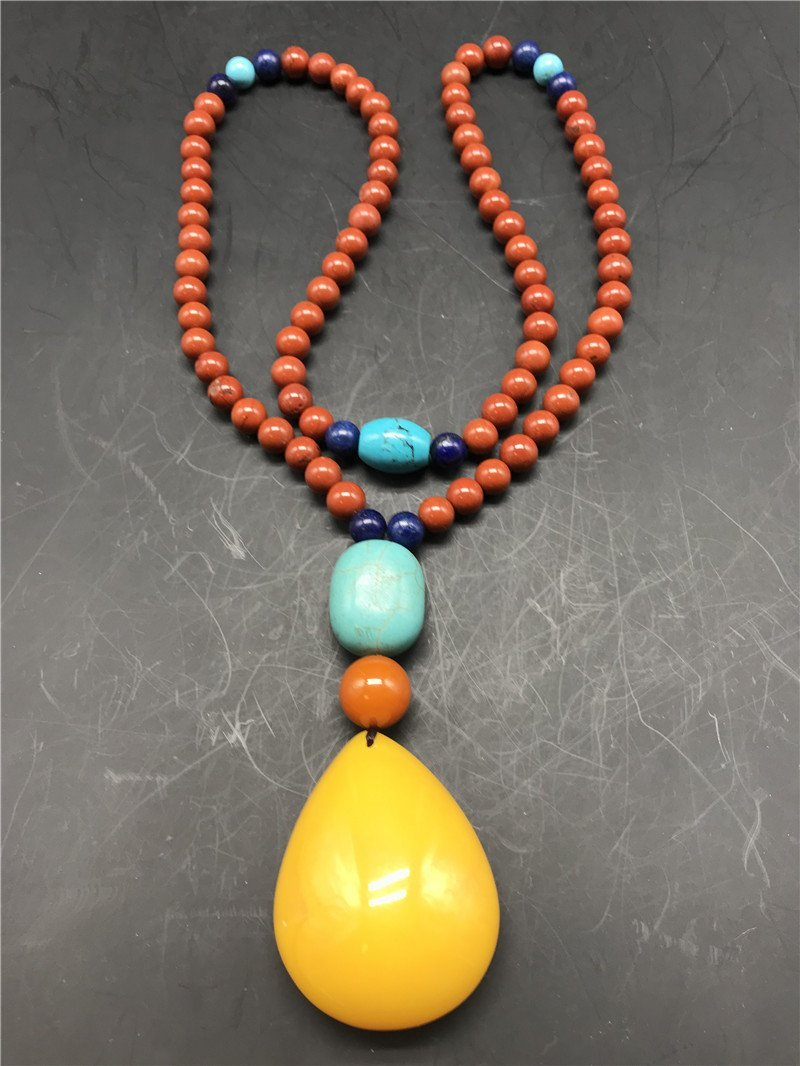 Chinese South red agate and Amber Necklace - 4