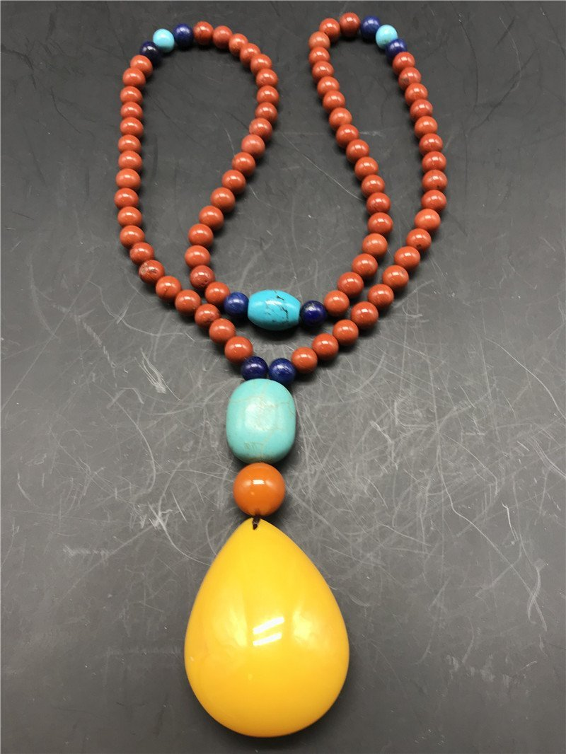 Chinese South red agate and Amber Necklace - 6