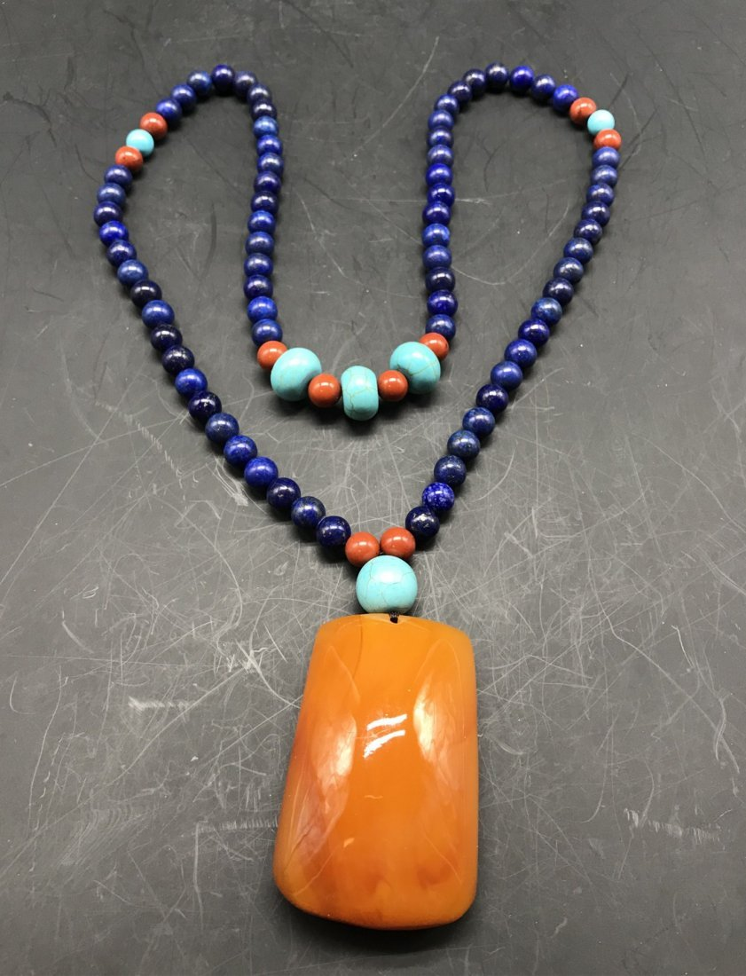 Chinese Lapis lazuli and Amber Necklace