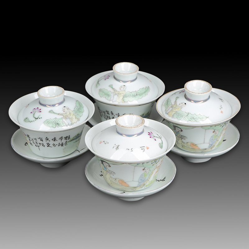 Four Chinese Famille Rose Porcelain Tea Cups