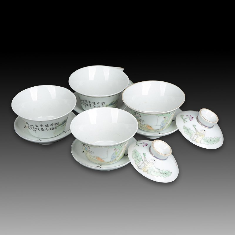 Four Chinese Famille Rose Porcelain Tea Cups - 5