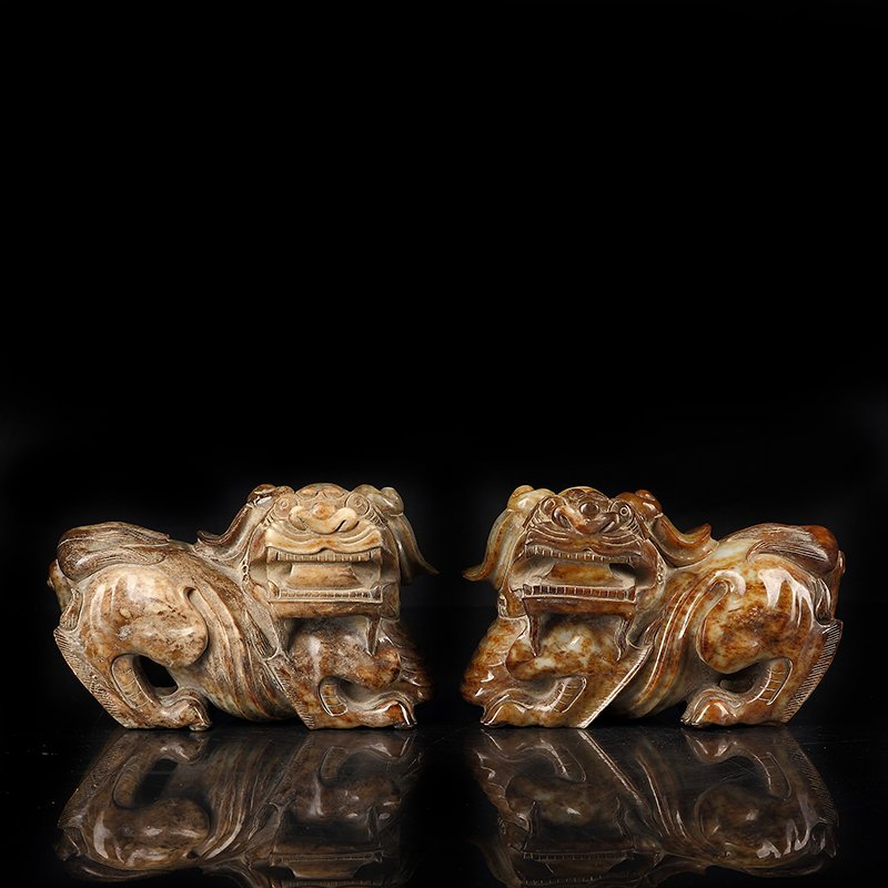 Pair Of Carved Ancient Jade Lion