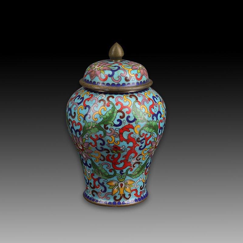 Chinese vintage cloisonne covered jar