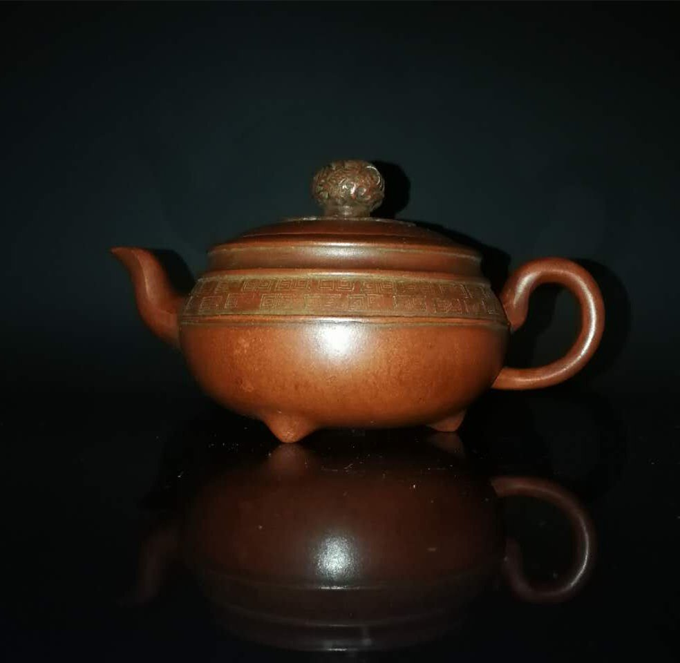 Chinese zisha teapot and cover.(Mark of Gu jingzhou) - 2