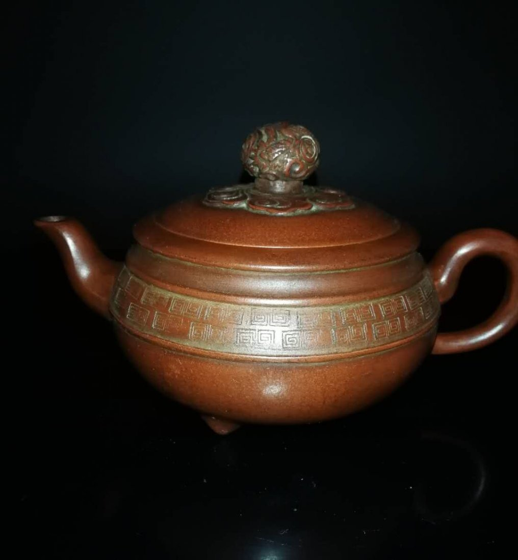 Chinese zisha teapot and cover.(Mark of Gu jingzhou) - 3