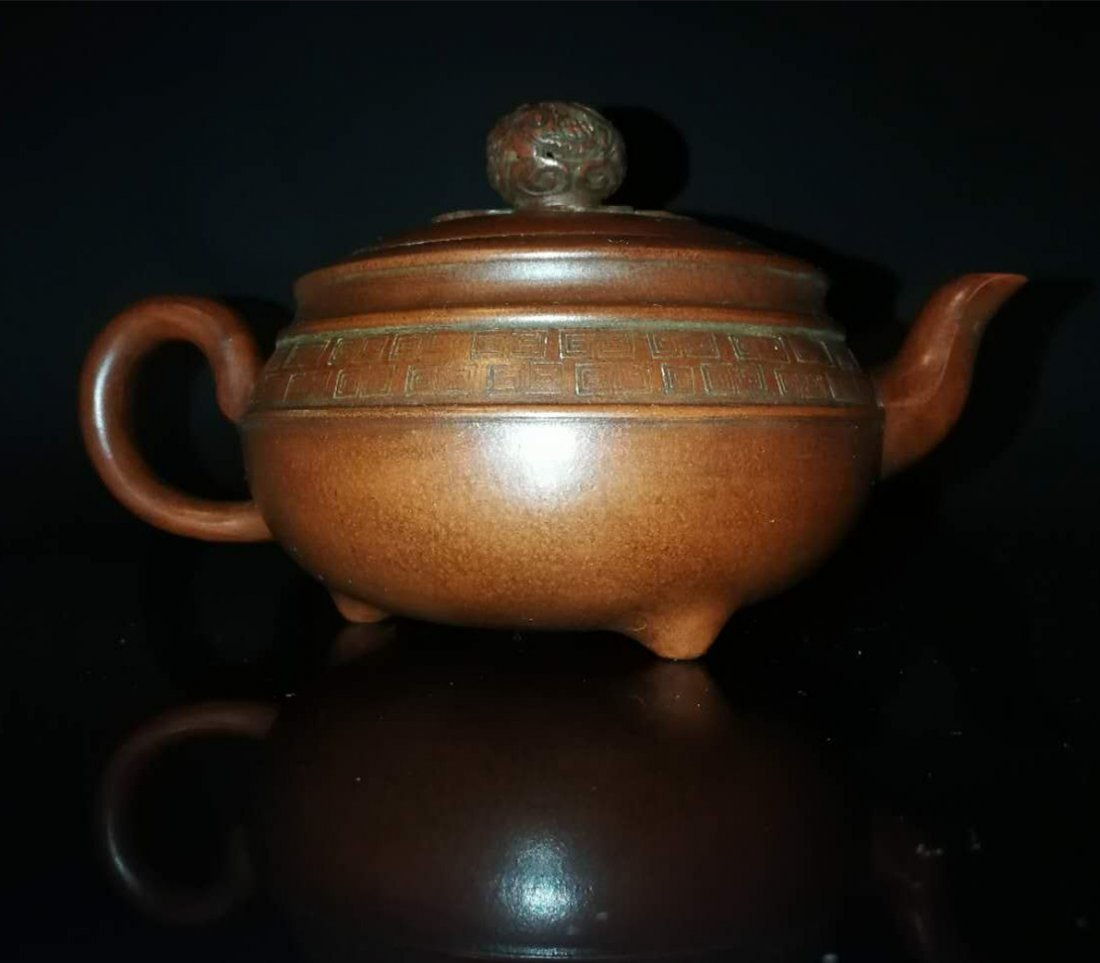 Chinese zisha teapot and cover.(Mark of Gu jingzhou) - 7