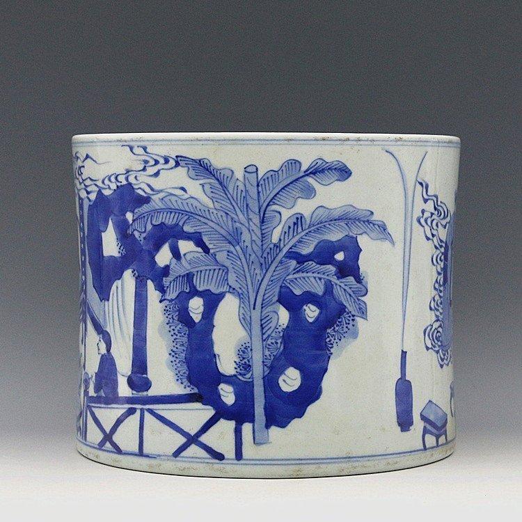 Chinese Blue And White Porcelain Brush Pot - 3