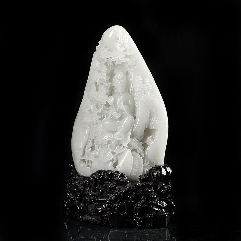 Chinese Qing Hetian Jade Carved with Guanyin - 2