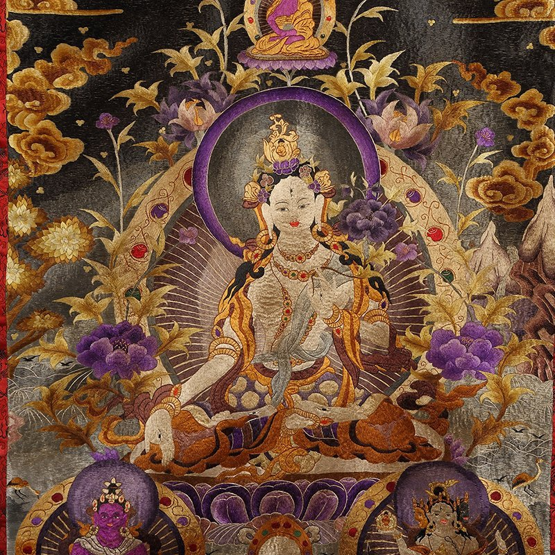 Chinese The court of huge needlepoint thangka - 2