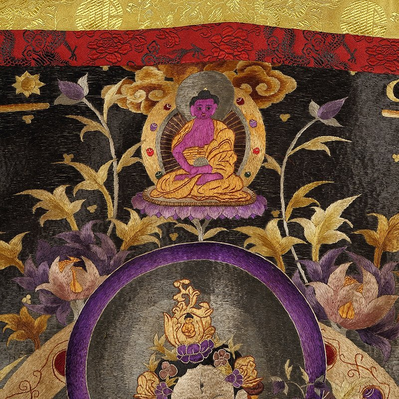 Chinese The court of huge needlepoint thangka - 3