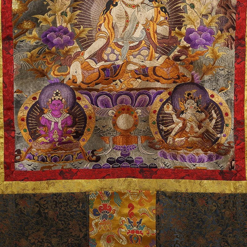 Chinese The court of huge needlepoint thangka - 4