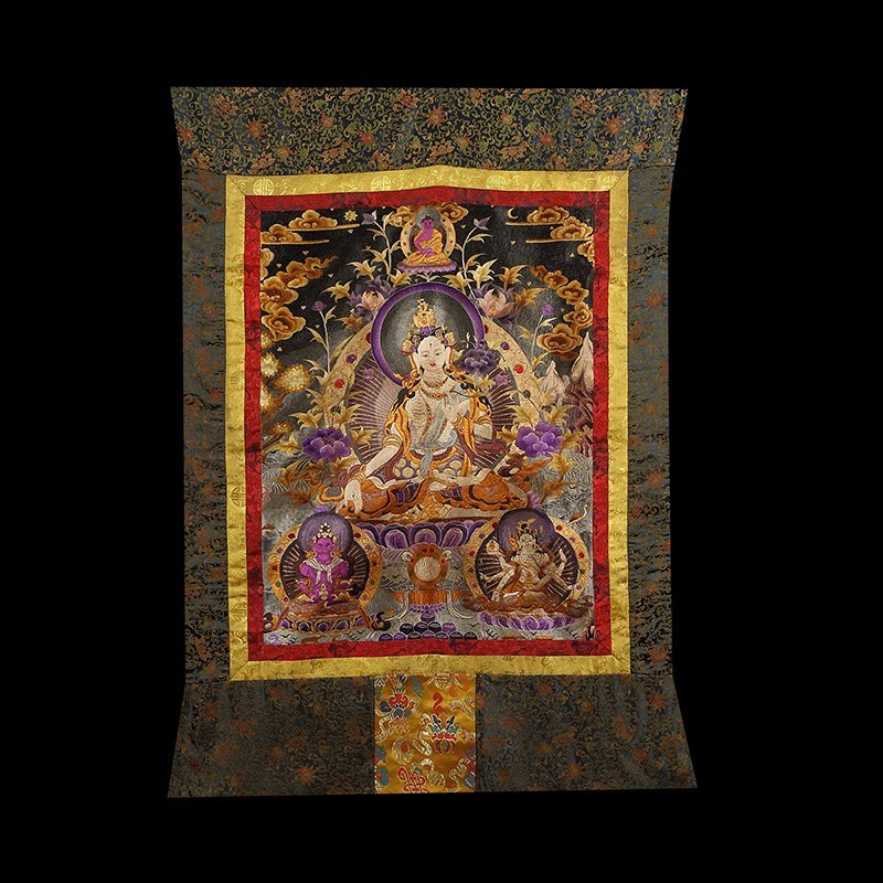 Chinese The court of huge needlepoint thangka - 6