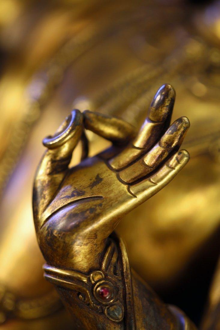 Sino-Tibetan Gilt Bronze Figure of Guanyin Buddha - 3