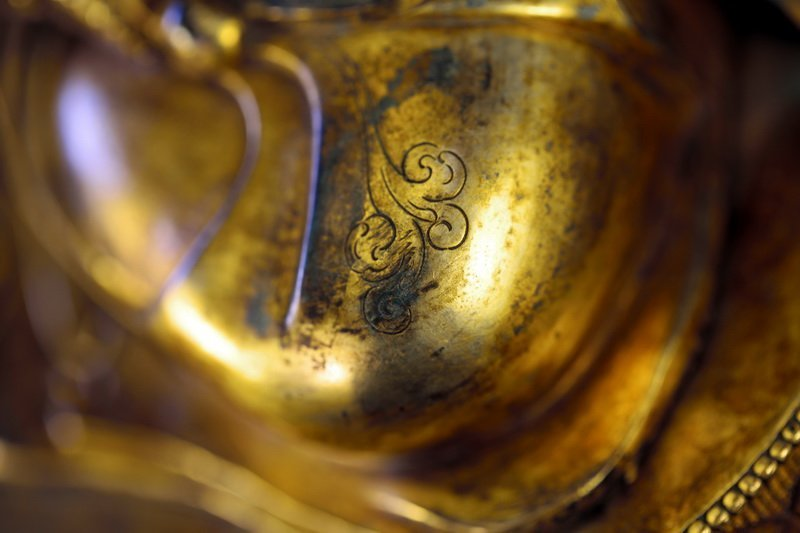 Sino-Tibetan Gilt Bronze Figure of Guanyin Buddha - 5