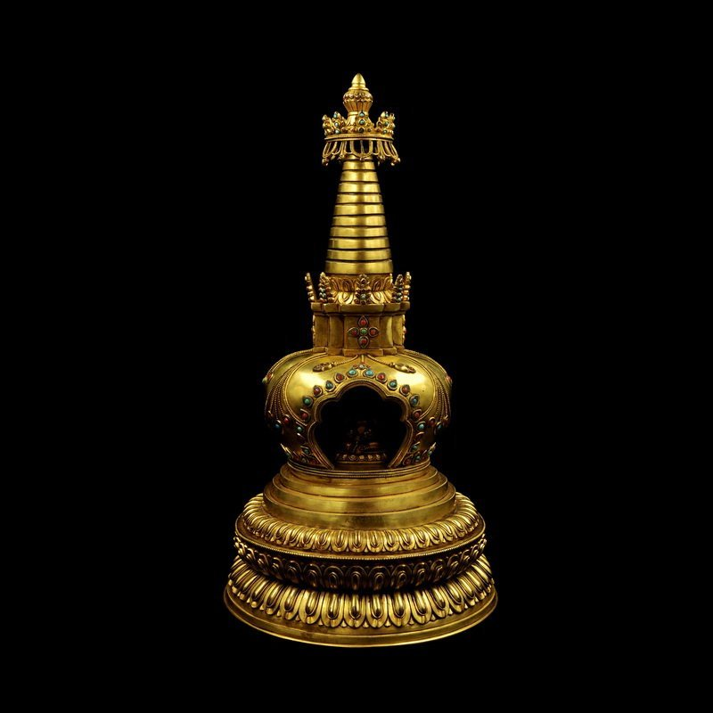 Chinese Ming Dynasty Gilt Bronze Tower