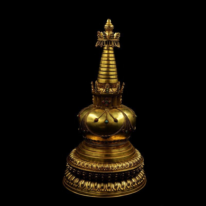 Chinese Ming Dynasty Gilt Bronze Tower - 5