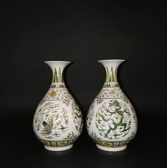 Pair Chinese Doucai Porcelain Vase