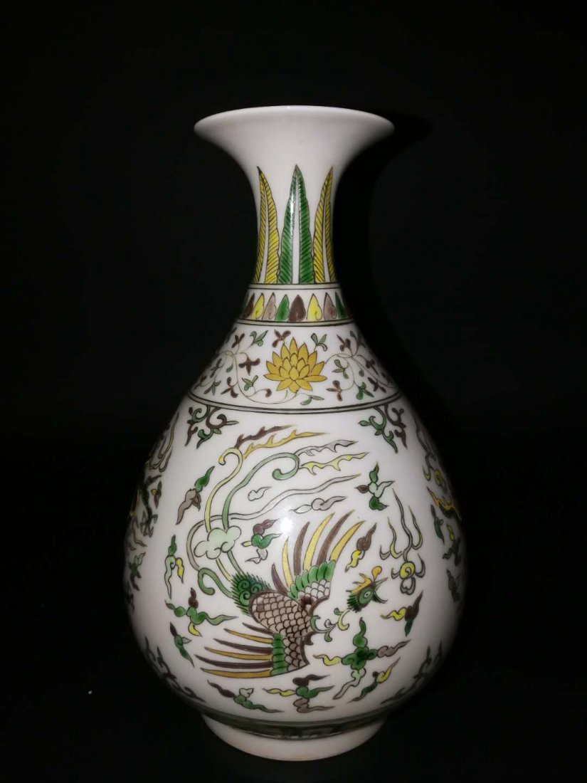 Pair Chinese Doucai Porcelain Vase - 2