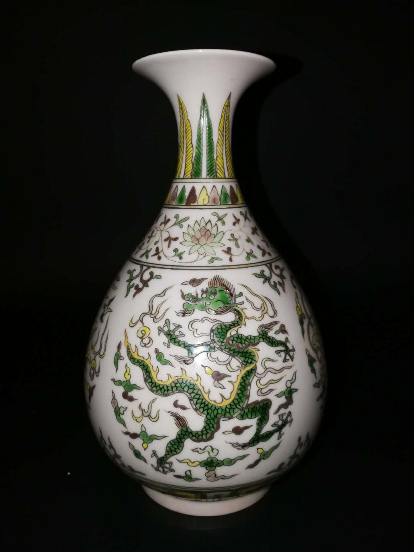 Pair Chinese Doucai Porcelain Vase - 3