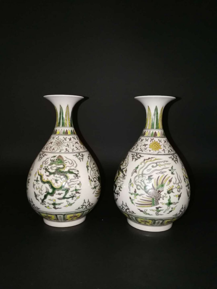 Pair Chinese Doucai Porcelain Vase - 4