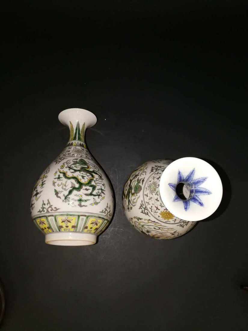 Pair Chinese Doucai Porcelain Vase - 7