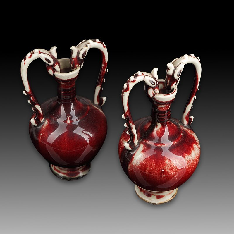 Pair of Chinese Red Glazed Dragon Porcelain Vase - 2