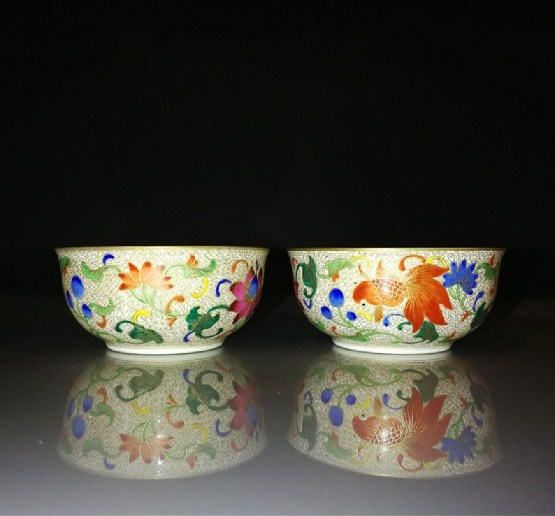 Pair of Chinese Famille Rose Porcelain Bowls - 10