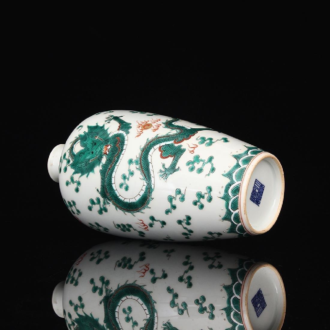 Chinese White Glaze Green Dragon Porcelain  Vase - 5