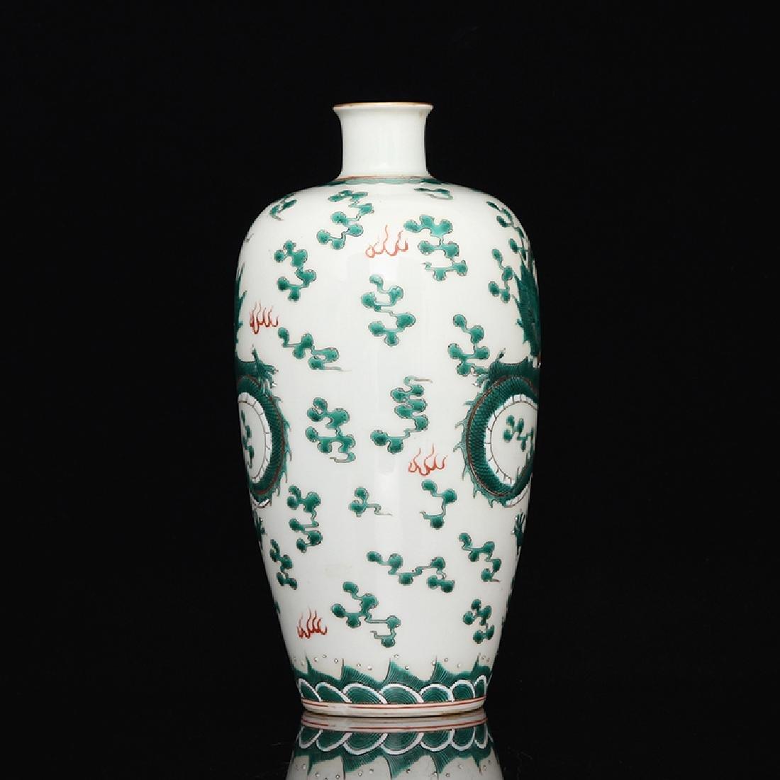 Chinese White Glaze Green Dragon Porcelain  Vase - 7