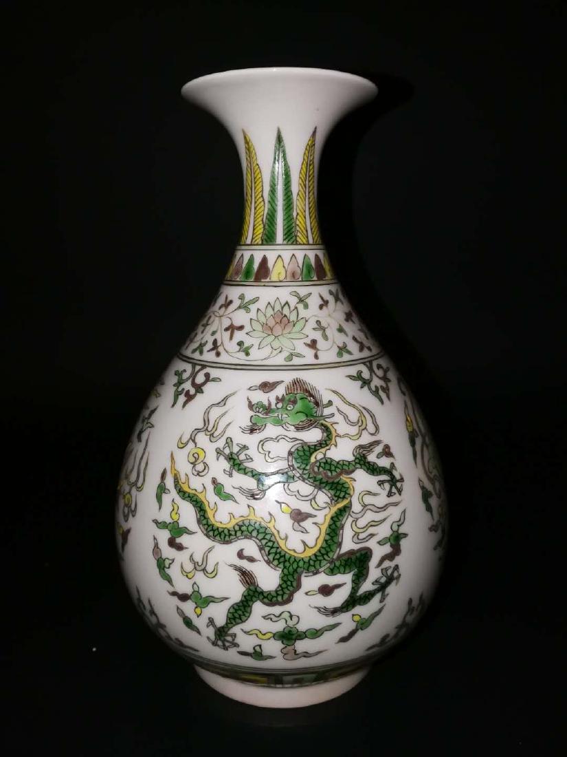 Pair Chinese Doucai Porcelain Vase - 2