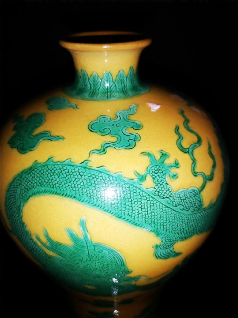 Chinese Yellow and Green Glaze Dragon  Porcelain Vase - 3