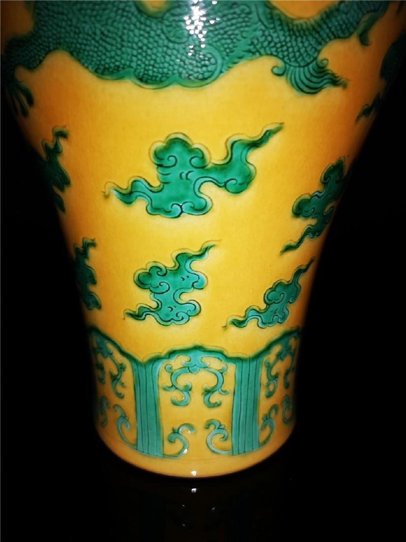 Chinese Yellow and Green Glaze Dragon  Porcelain Vase - 5