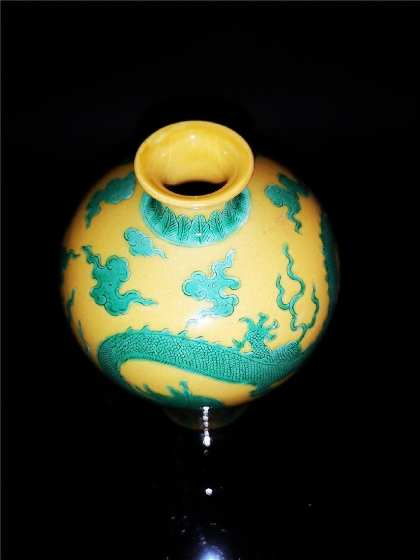 Chinese Yellow and Green Glaze Dragon  Porcelain Vase - 6