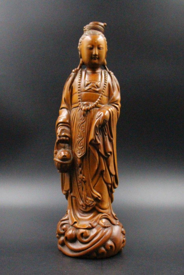 Chinese  Qing Dynasty boxwood basket guanyin - 2