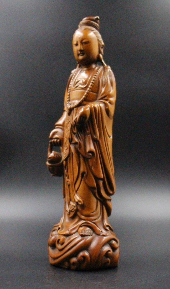 Chinese  Qing Dynasty boxwood basket guanyin - 3